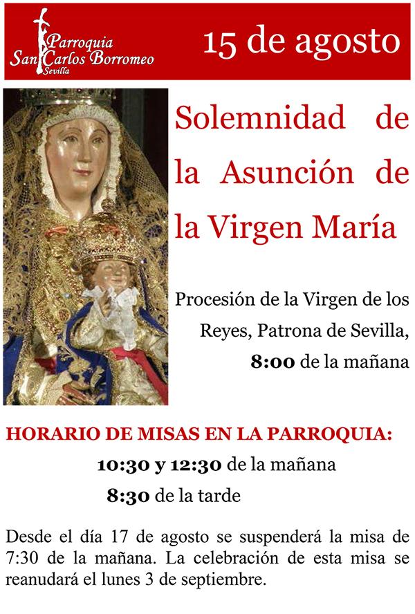 15 de agosto, Solemnidad de la Asunción de la Virgen