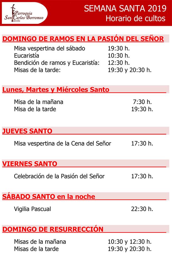 Horario de cultos de Semana Santa
