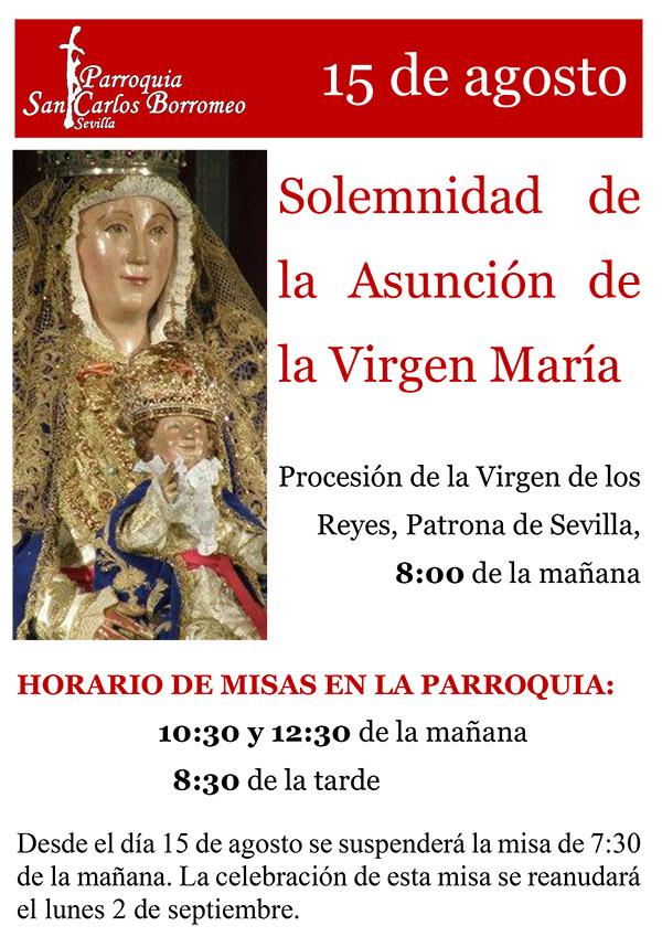 15 de agosto: Solemnidad de la Asunción de la Virgen