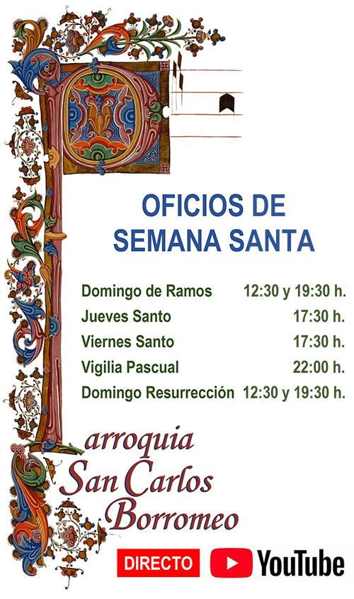HORARIO DE CELEBRACIONES DE SEMANA SANTA
